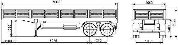 Бортовой полуприцеп 2-х осный СЗАП-9340 КАМАЗ чертеж