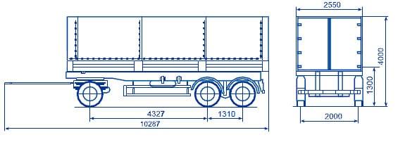 Бортовой прицеп 3-х осный СЗАП-8305 КАМАЗ чертеж