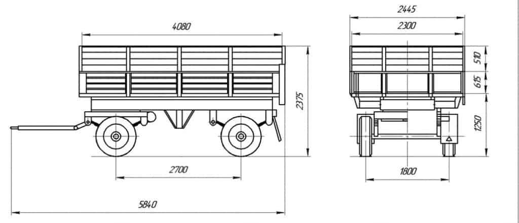 Прицеп самосвальный тракторный СЗАП-8521 схема