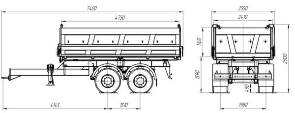 Прицеп самосвальный тракторный СЗАП-8582Т схема