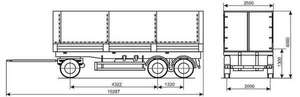 Бортовой прицеп 3-х осный СЗАП-83053 схема