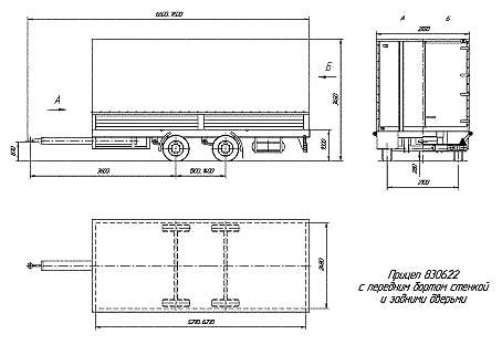 Бортовой прицеп 3-х осный СЗАП-8305 схема